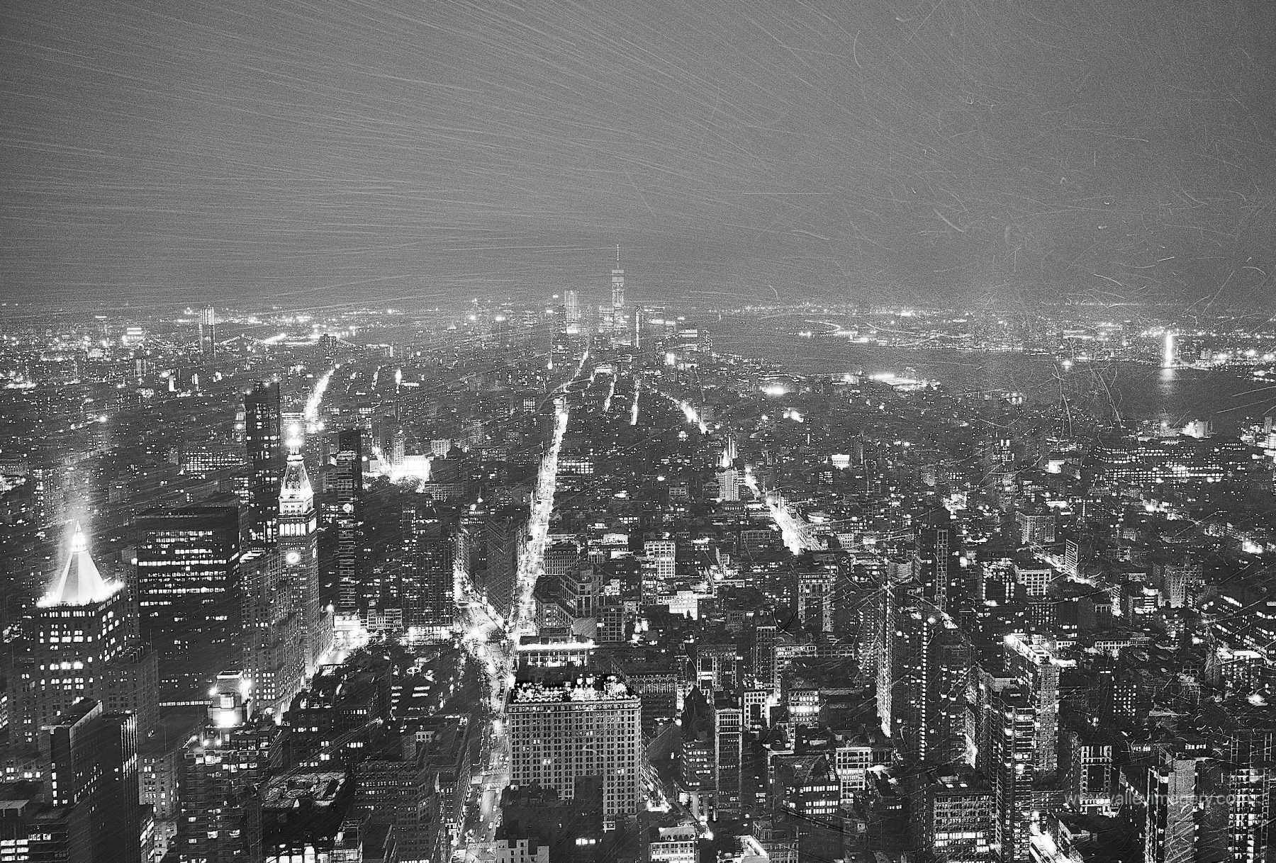 Image taken showing snow trails from the viewing platform on the empire state building.